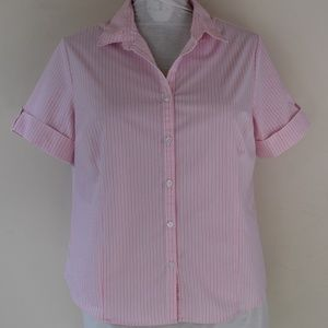 George Size XXL 20 Pink Striped Button Up Shirt